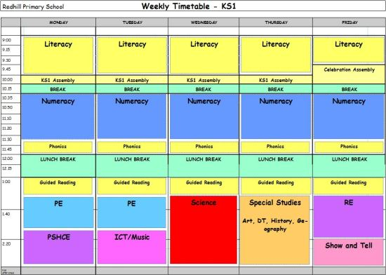KS1 Weekly Timetable