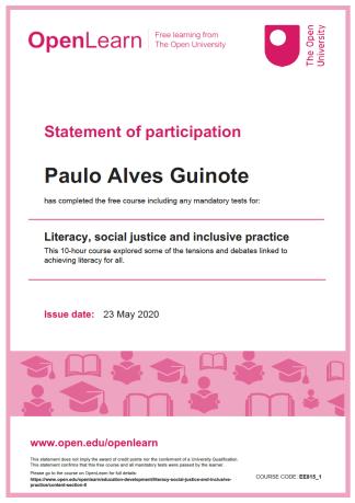 Certificado Literacia